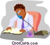 Vector Clipart illustration  of a businessman on telephone