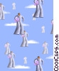 Figures floating in the sky Vector Clipart illustration