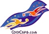 Vector Clipart graphic  of a people flying through space