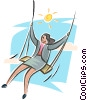 relaxation, woman with a swing Vector Clipart graphic