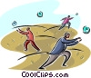 Vector Clip Art graphic  of a business people chasing time