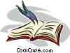 diving into a book Vector Clip Art picture