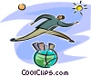 Vector Clip Art graphic  of a man jumping over the globe