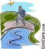Vector Clip Art picture  of a man crossing a bridge
