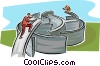 Vector Clip Art graphic  of a men building a bridge over a