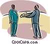 man handing a document to another individual Vector Clipart graphic