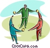 multicultural people standing in a circle Vector Clip Art image