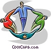 Vector Clip Art graphic  of a multicultural people joining