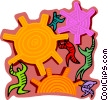human forms moving the gears of production Vector Clip Art picture
