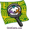magnifying glass examining connections Vector Clipart graphic