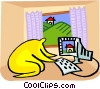 Vector Clipart graphic  of a working on a computer in the home