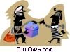 Two people exchanging mail Vector Clipart illustration