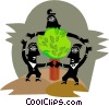 Figures dancing around tree Vector Clip Art graphic