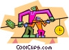 Vector Clipart image  of a balancing time and money