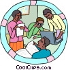 Vector Clip Art image  of a students with teacher or
