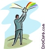 Vector Clip Art picture  of a man with a prism reflecting