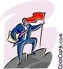man conquering a mountain and planting a flag Vector Clipart picture