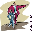 Vector Clipart picture  of a man pointing the way to an associate