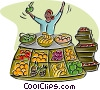 Vector Clip Art picture  of a merchant selling fruits and