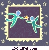 symbol of two human forms reaching for a star Vector Clipart illustration