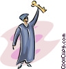 Vector Clip Art image  of a Scholar with a key to his