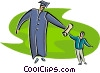 scholar receiving diploma Vector Clip Art picture