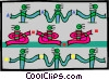 Vector Clipart graphic  of an assembly line workers showing process