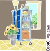 display case with potted flowers and lamp Vector Clip Art image