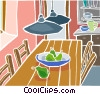 Vector Clip Art picture  of a kitchen table with a bowl of