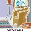 comfortable chair with knitting wool Vector Clipart image