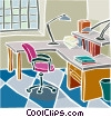 Office desk Vector Clip Art graphic