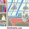 Vector Clip Art graphic  of a work desk in a loft