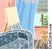 Easel in living room Vector Clip Art graphic