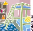 Vector Clip Art picture  of a bunk beds