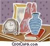 clock, vase, book and photo Vector Clipart graphic