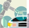 robot arm working on an automobile assembly line Vector Clipart illustration