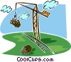 crane with load of logs, lumber industry Vector Clipart illustration