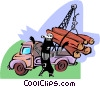 Vector Clipart image  of a Man guiding lumber