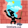 Vector Clipart illustration  of a Figure knocking wall out