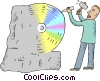 man carving a CD disk from a stone block Vector Clipart illustration