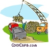 lumber being loaded onto trucks, distribution Vector Clipart picture