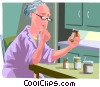 Vector Clip Art image  of a Elderly woman taking