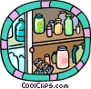 Vector Clipart illustration  of a shelves holding bottles of medication