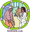 healthcare, daily prescription, nurse with patient Vector Clipart graphic