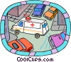 ambulance driving down a crowded city street Vector Clip Art image