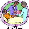 newborn with parents in maternity ward Vector Clip Art graphic