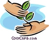 Vector Clip Art image  of a hands holding a sapling