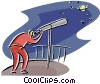 Vector Clip Art image  of a man looking through a telescope