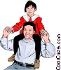 Vector Clipart illustration  of a Proud father and child