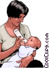 Vector Clipart image  of a Mother nursing her child